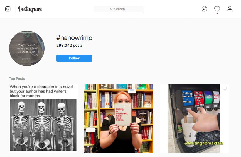 Instagram search for #NaNoWriMo