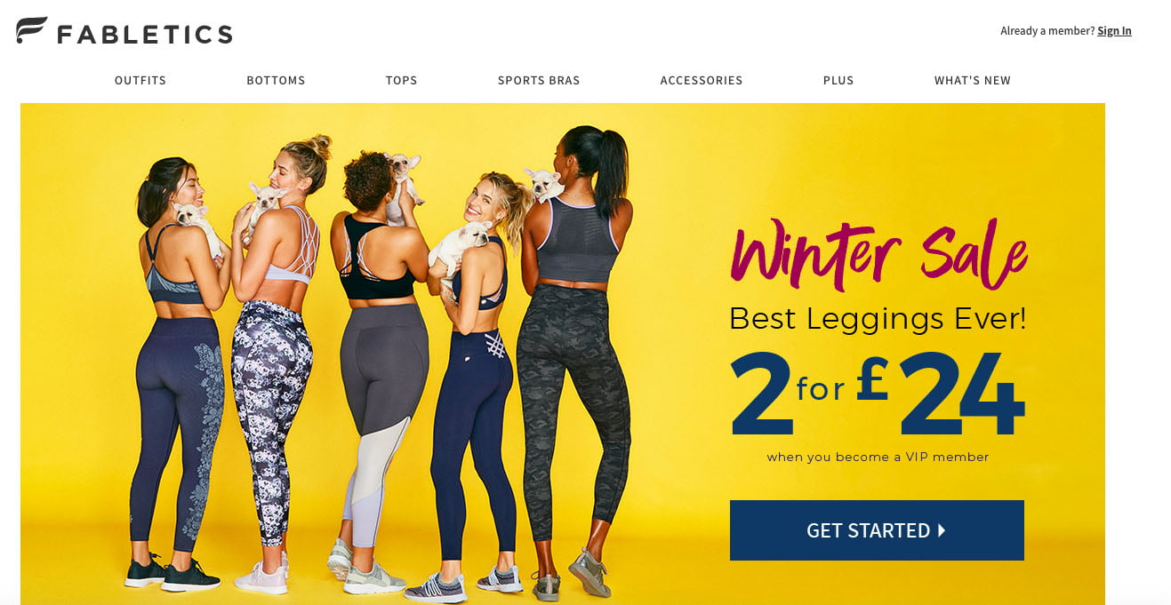 Fabletics homepage