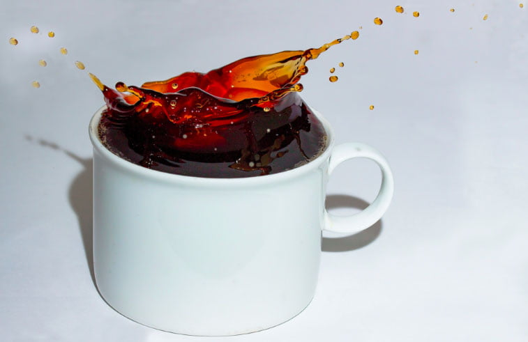 A splash in a coffee cup