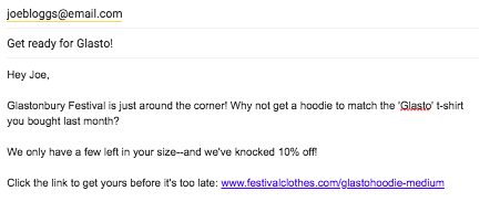 Personalised marketing email example