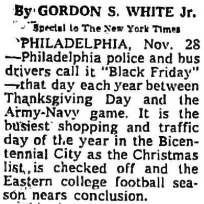 One of the first mentions of 'Black Friday'