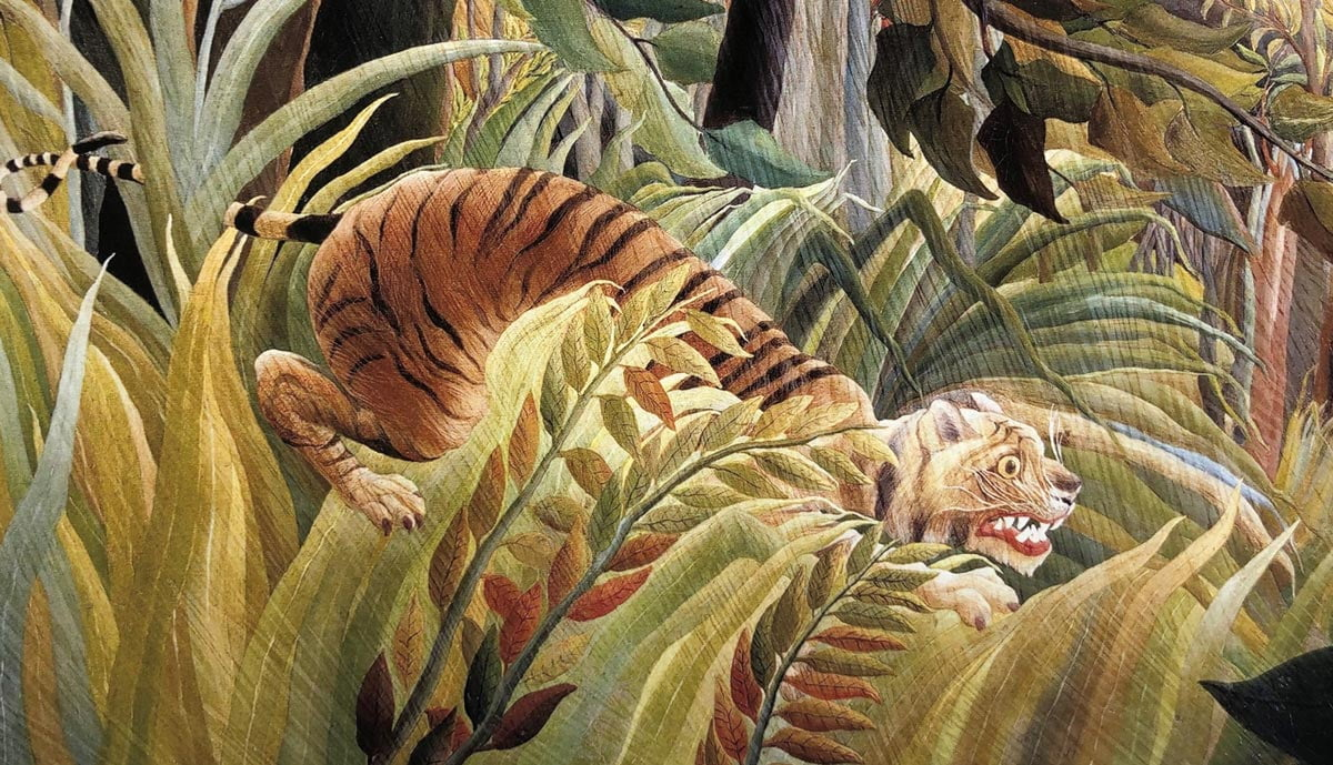Tiger in a Tropical Storm, close up of a 4-colour inkjet print