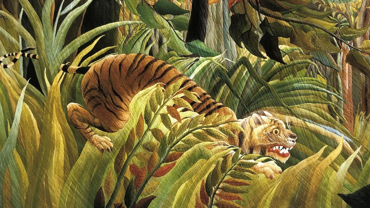 Tiger in a Tropical Storm, close up of a 12-colour Giclée print