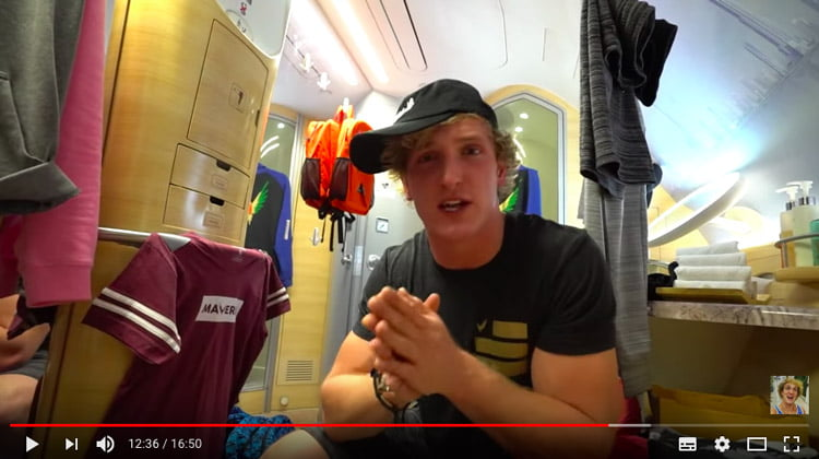 Logan Paul in a toilet