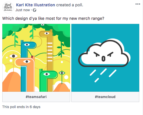 Creating an FB poll, step 1