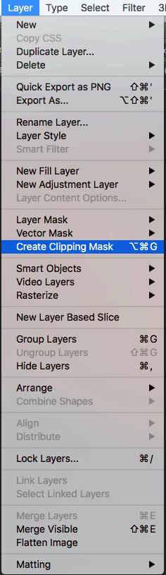 Photoshop: create clipping mask