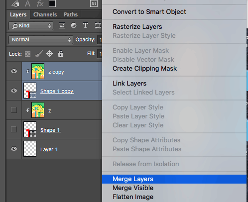Merge layers in Photoshop