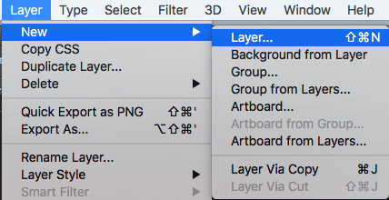 Photoshop new layer