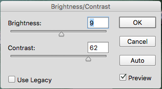 Brightness and contrast Photoshop sliders