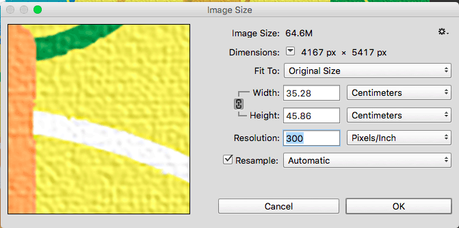 Changing resolution in Photoshop