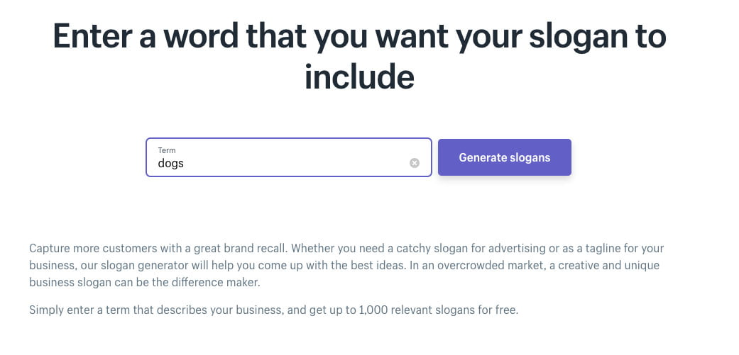 Shopify's Free slogan maker additional phrases