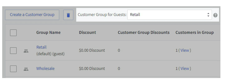 BigCommerce customer groups