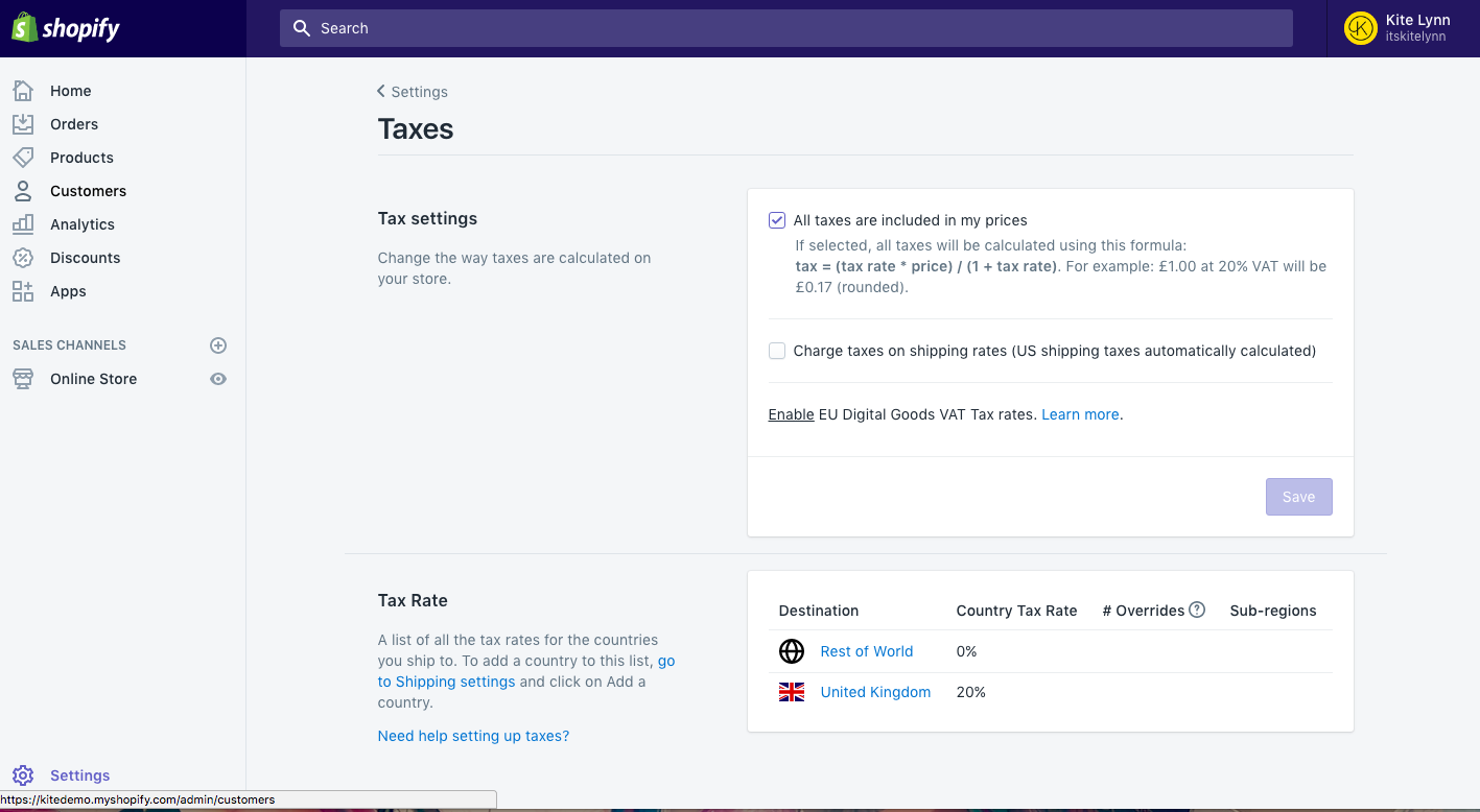 Shopify tax settings: main page
