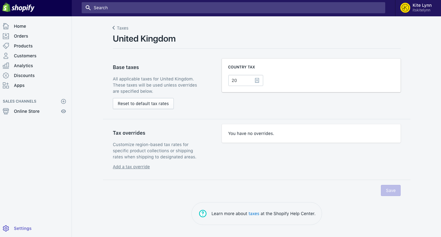 Shopify tax settings: country page