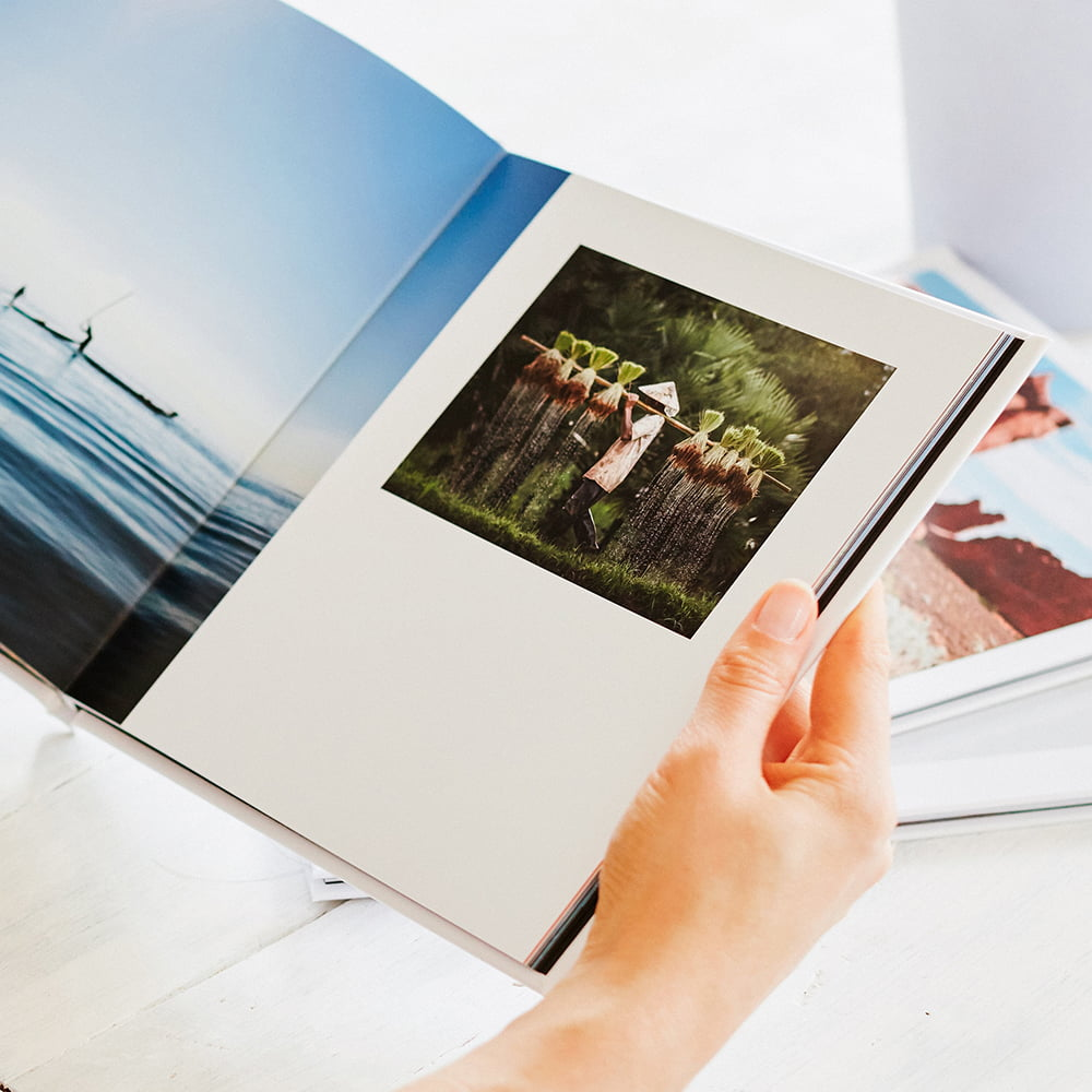 Hardcover photo book holding