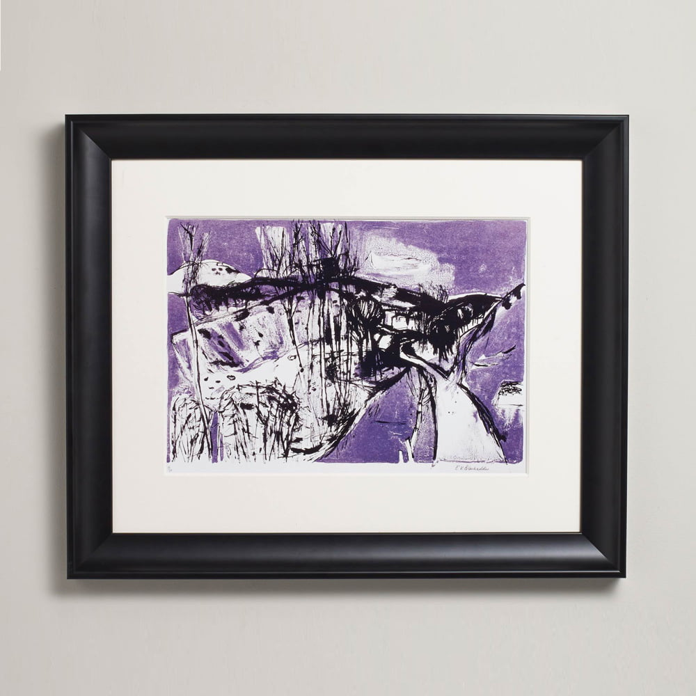 Black swoop frame on wall