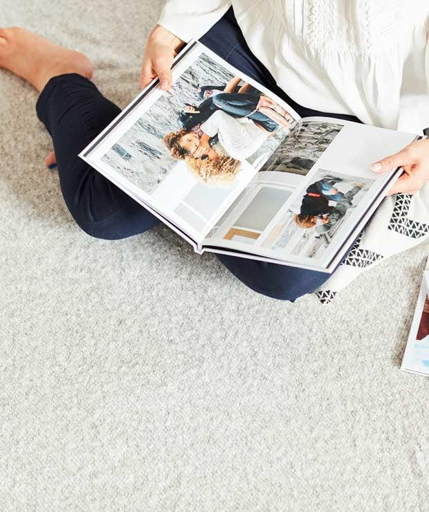 Photo books with crisp white paper stock