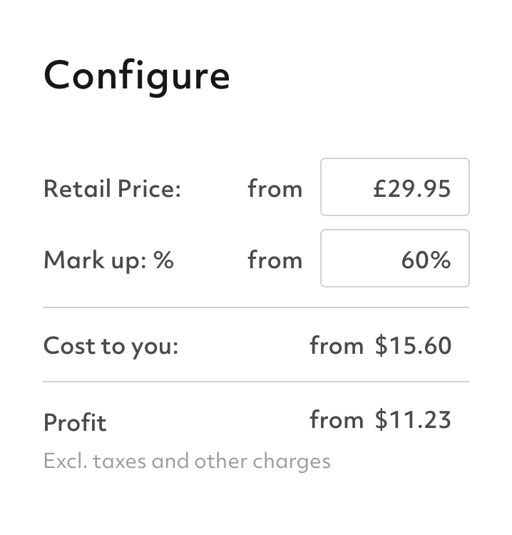 Fully configurable pricing