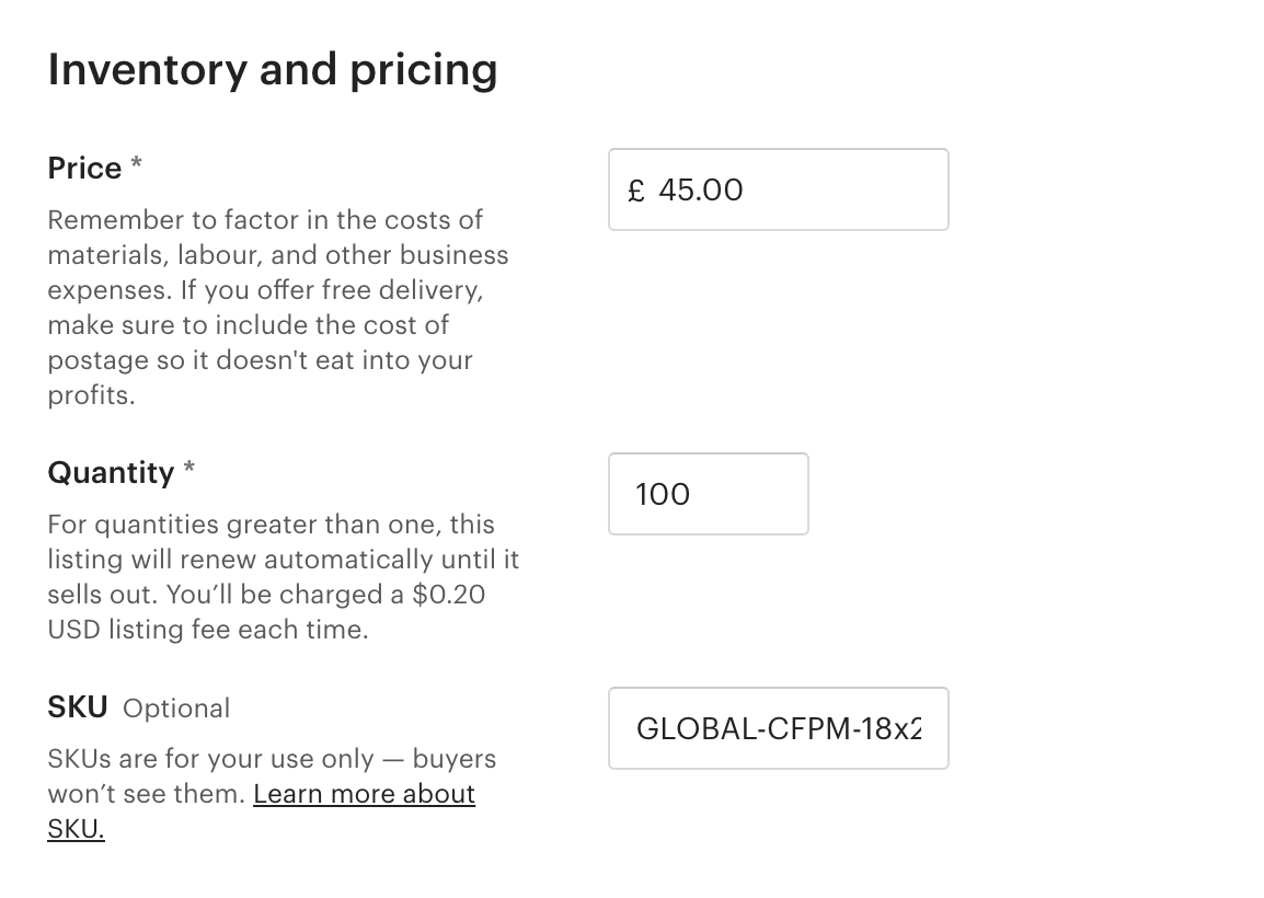 Etsy inventory and pricing